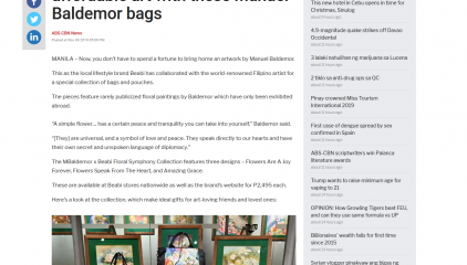 ABS-CBN NEWS:  Christmas 2019: Score affordable art with these Manuel Baldemor bags